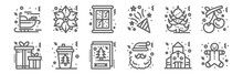 Set Of 12 Christmas Icons. Out...