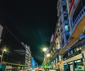 Gran Via boulevard in downtown Madrid at night