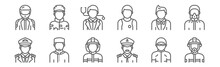 Set Of 12 Profession Avatar Ic...