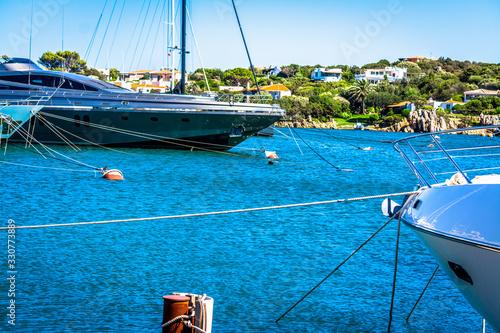 Photo Luxury yachts in Porto Cervo harbor
