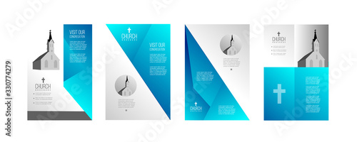 religious church brochure design in blue and grey Wallpaper Mural