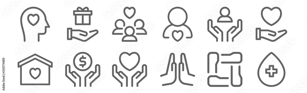 Fototapeta set of 12 charity icons. outline thin line icons such as blood donation, praying, donation, support, people, donation
