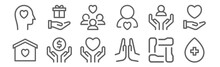 Set Of 12 Charity Icons. Outline Thin Line Icons Such As Blood Donation, Praying, Donation, Support, People, Donation