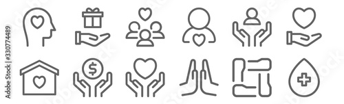 set of 12 charity icons Canvas Print