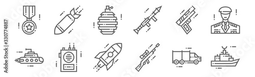 set of 12 military icons Wallpaper Mural