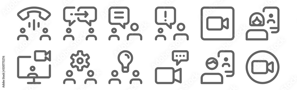 Fototapeta set of 12 meeting icons. outline thin line icons such as camera, video call, settings, camera, chatting, chatting