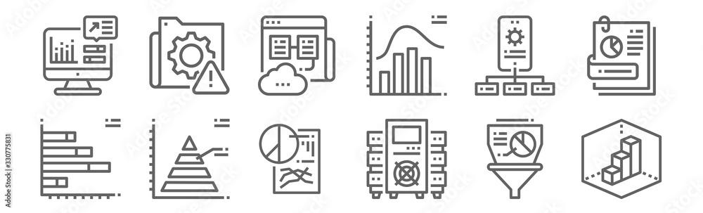 Fototapeta set of 12 data analytics icons. outline thin line icons such as d, data, pyramid, api, web hosting, system