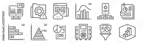 Fototapeta set of 12 data analytics icons. outline thin line icons such as d, data, pyramid, api, web hosting, system obraz