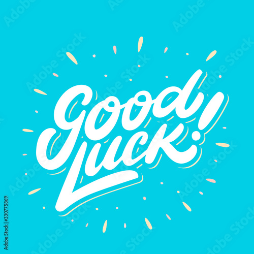 Photo Good luck. Farewell card. Vector lettering.