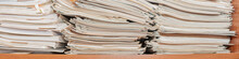 Old Paper Documents Stacked In...