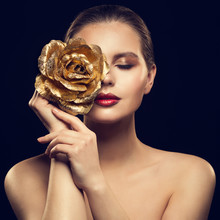 Woman Face With Golden Flower Rose On Face, Fashion Model Beauty Makeup Portrait
