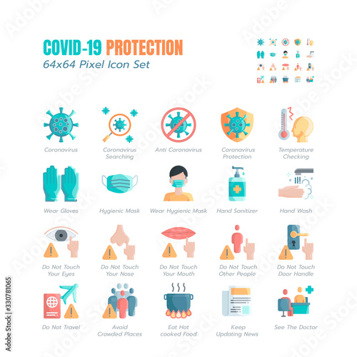 Simple Set of Covid-19 Protection Flat Icons Wallpaper Mural