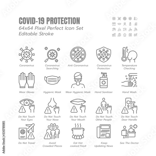 Simple Set of Covid-19 Protection Line Outline Icons Wallpaper Mural