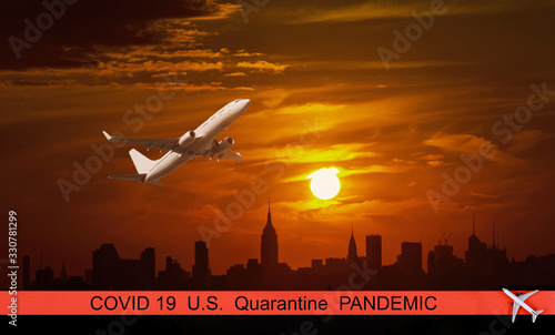 Fototapety, obrazy: U.S. pandemic canceled travel US quarantine covid-19 at New York city skyscrapers in financial district, NYC USA plane flying