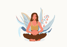 Love Yourself Vector Background. Self-care Body Wellness Concept. Young Woman Sitting In Yoga Posture. Girl Fold Her Hands On Her Stomach, Fingers Formed Heart Shape. Happy Meditate Female Character