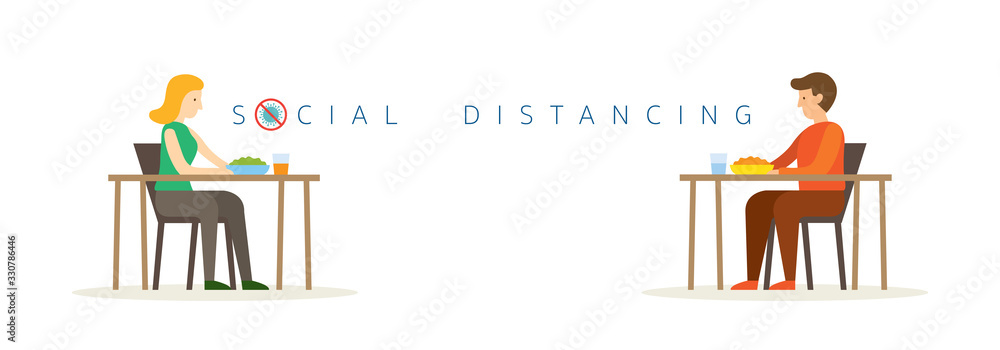 Fototapeta Man and Woman Eating on Table, Social Distancing Concept