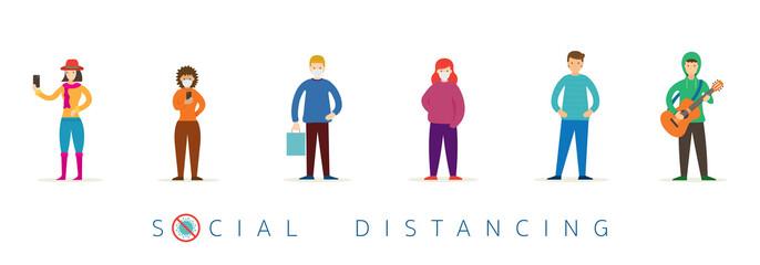 Fototapeta na wymiar Group of People in Queue, Social Distancing Concept