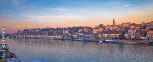 Belgrade Danube river boats and cityscape panoramic view Wallpaper Mural