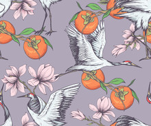 Seamless Oriental Pattern With Cranes, Magnolia Flowers And Persimmon