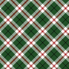 Green Scottish Woven Plaid Seamless Pattern Vector Illustration. Textile Tartan Flat Style Design. Quality Material With Red White And Emerald Colours Endless Texture. Argyle Background