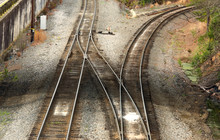 Railroad Tracks Diverging With...