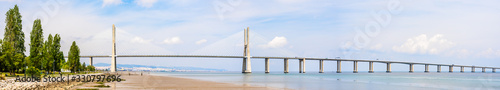 Vasco da Gama bridge, a cable stayed bridge flanked by viaducts and rangeviews t Wallpaper Mural