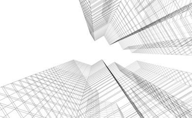 Concept architecture buildings, 3d illustration