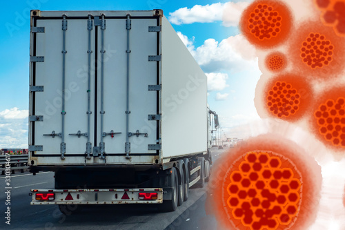 Fotografering Image of a virus next to a truck