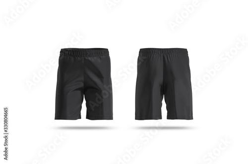 Valokuva Blank black soccer shorts mock up, front and back view