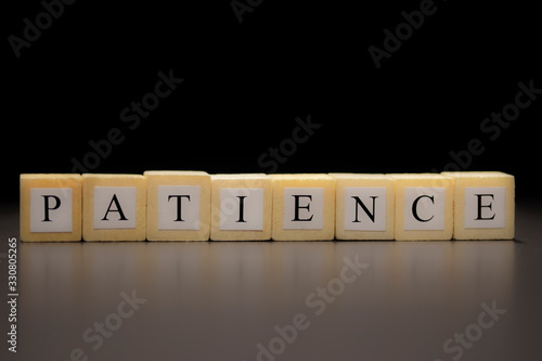 The word PATIENCE written on wooden cubes, isolated on a black background Canvas Print