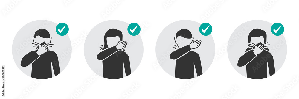 Fototapeta Preventive measures icons how to cough and sneeze and not spreading virus