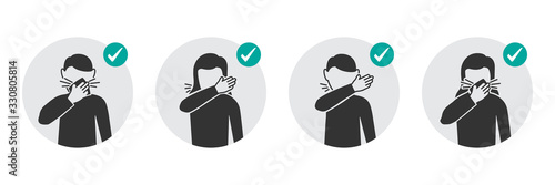 Leinwand Poster Preventive measures icons how to cough and sneeze and not spreading virus