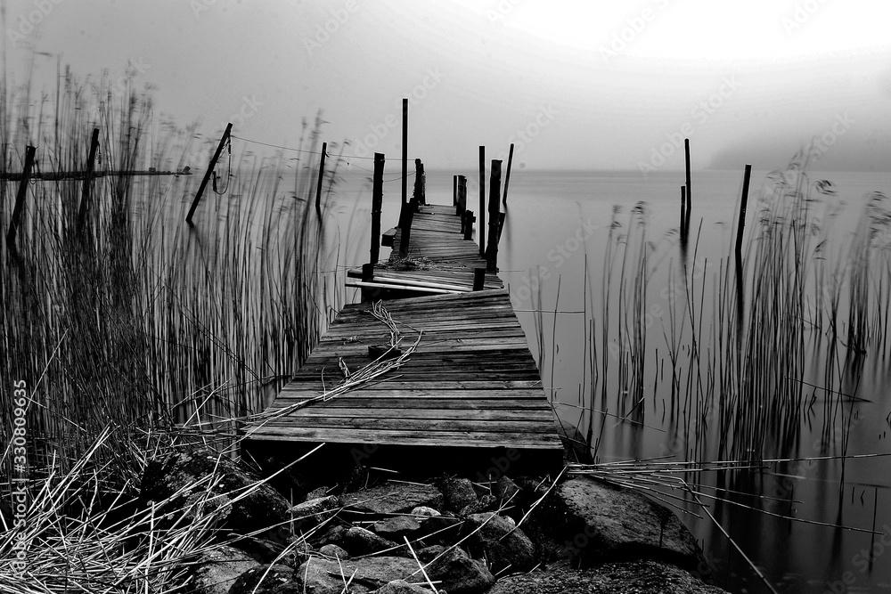 Fototapeta Desolate jetty in monochrome