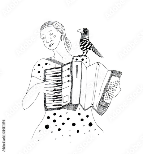 Accordionist with raven Wallpaper Mural