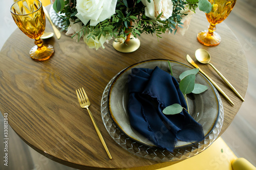 Luxury wedding table decoration. Special event table set up. Fresh flower decoration