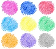 Colored Spots, Hand-drawn With Wax Crayons. Pencil Drawing, Template, Design Element. Isolated Doodle On White Background.