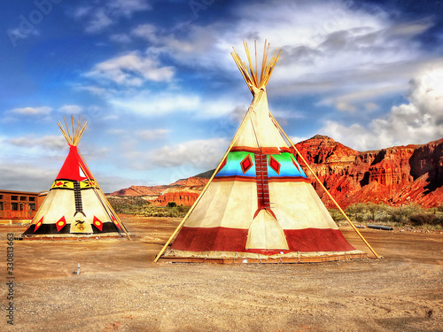 Native American Indian tepees tents in desert landscape USA Fotobehang