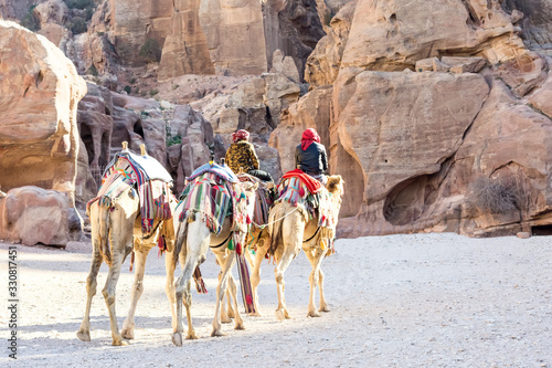 Three camels are slowly moving away from the camera; camel drivers are sitting on two camels Fototapeta