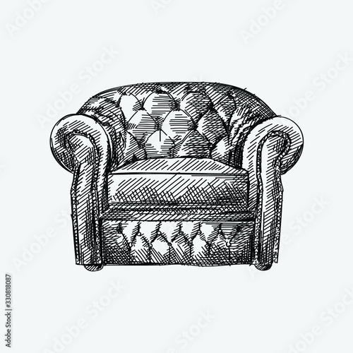 Hand-drawn sketch of Chesterfield leather armchair with quilted and long backrest Canvas Print