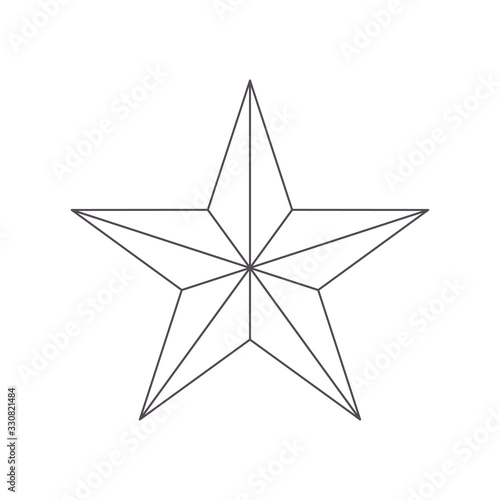 Vászonkép Five point thin outline star icon