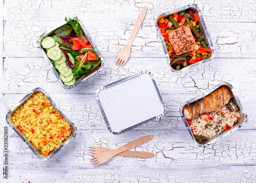 Obraz Food delivery concept. Lunch in container - fototapety do salonu