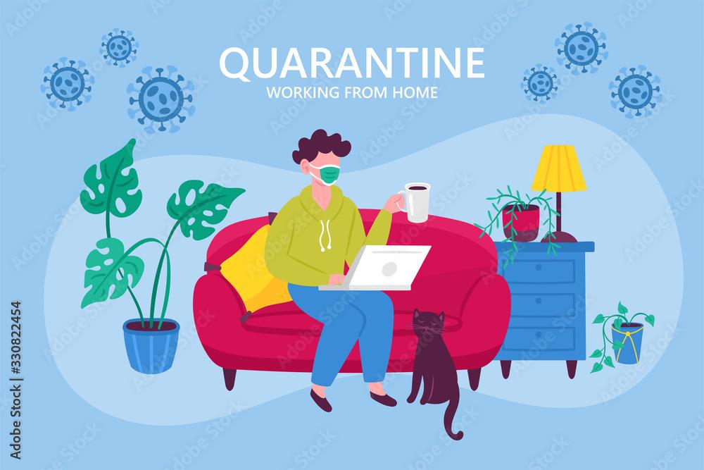 Fototapeta Coronavirus quarantine concept. Working from home. Man sitting on couch and working on laptop. Flat cartoon vector illustration