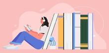 Girl Sitting Near Pile Of Book...