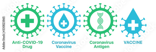 Coronavirus drug and vaccine, icon set Wallpaper Mural