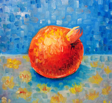 Painting Of Pomegranate, Impressionist Original Painting Fruit