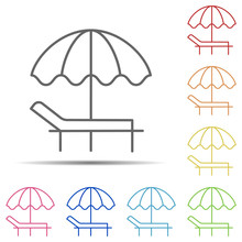 Sunbed Multi Color Icon. Eleme...