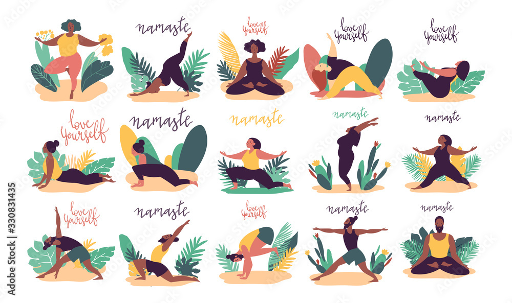 Fototapeta Hand drawn minimal vector illustration of cartoon men and women character doing yoga asana pose outside in nature with backgroud of tropical leafs and plants.