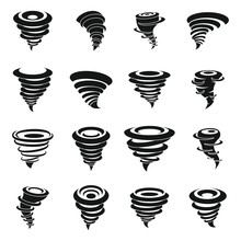 Tornado Icons Set. Simple Set Of Tornado Vector Icons For Web Design On White Background