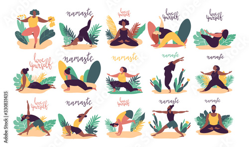 Hand drawn minimal vector illustration of cartoon men and women character doing yoga asana pose outside in nature with backgroud of tropical leafs and plants Fototapete