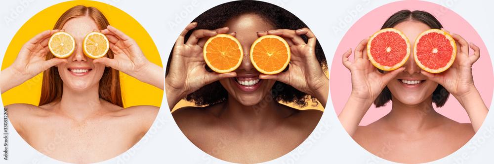 Fototapeta Diverse ladies with various citruses near eyes